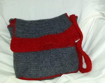 Scarlett and gray felted purse