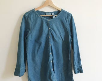 Vintage Liz Claiborne Hand Dyed Indigo Top size XL Button Down 3/4 Sleeve