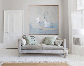 "Blue and cream abstract GICLÉE PRINT, giclée print of  Original modern painting ""Gloaming"""
