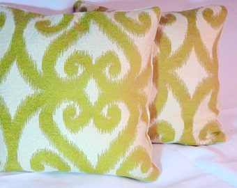 Ikat  Pillow Covers -Chinelle Designer fabric - pillows - 18x18 or 20x20 - Chartreuse and Ivory - Accent Pillow covers