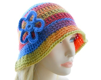 Women's Cloche Hat, Crochet Wool Hat, Cloche Hat in Rainbow Stripes, Medium to Large Size
