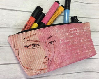 Canvas Zippered Pouch, Painted Pencil Case, Art Bag,  Notion Bag, Small Make-Up Bag, Purse Organizer, Notion Bag, Small Clutch, Accessory