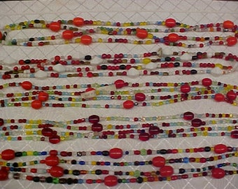 Vintage 1950's Czechoslovakia Glass Mardi Gras Beads, Extra Long 56 Inch Strand Necklace, Assorted Colors Shapes Sizes