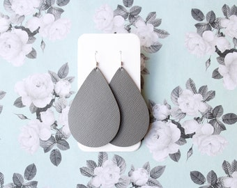 Gray Leather Drop Earrings, the leather drop, gray earrings, silver jewelry