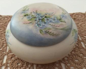 Beautifully Hand Painted Vintage Vanity Jar