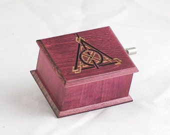 Harry Potter Deathly Hallows music box purple - soundtrack and design inspired handmade wooden music box