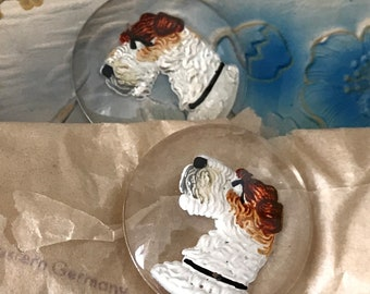 Vintage Wired Hair Fox Terrier Cabochons, Glass Terrier Cabochons, Wire Haired Fox Terrier, Dog Pendant, Intaglio, Western Germany, #696Q