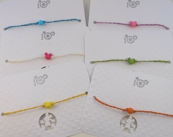 Fish extender gift, Mickey Mouse ears wish bracelet, Package of 6, Party favor, birthday, baby shower, friendship, vacation, ankle or anklet