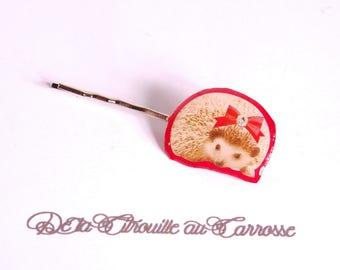Hedgehog, red hair clip