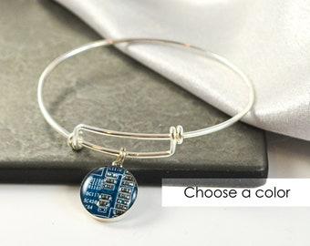 Circuit Board Expandable Bracelet Sterling Silver CHOOSE COLOR, Adjustable Silver Bangle, Geeky Bracelet, Wearable Technology Gift for Her