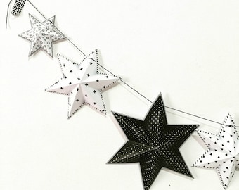 Party Decor, Printable party decorations, black and white party decor, monochrome garland, DIY stars garland, Instant download decorations.
