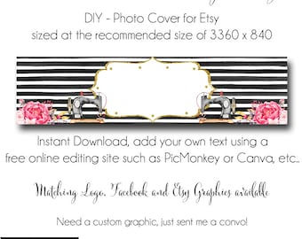 Sewing Etsy Cover Photo - Add your own Text, Instant Download, Ashley Glam Sewing, New Cover Photo For Etsy, Made to Match Graphics