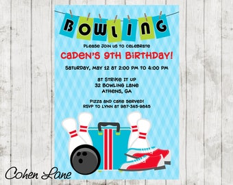 Printable Bowling Party Invitation.  Bowling Birthday Party Invite.  End Of School Year Bowling Party.
