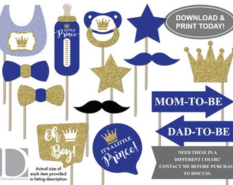 Little Prince Photo Booth Props, Royal Blue, Gold, Glitter, Baby Shower Props, Photo Booth Accessories, DIY Printing