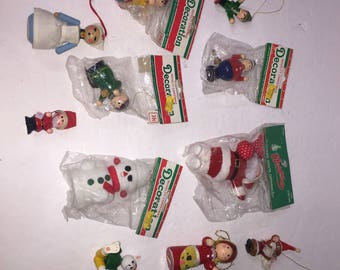 Vintage Christmas Tree Ornament Lot Wooden & Flocked Holiday Decor