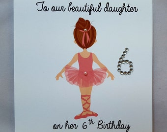 Personalised Handmade Daughter's Birthday Card- Any Age