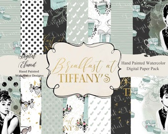 Breakfast at Tiffany's Digital Paper, Audrey Hepburn Paper, Aqua Digital Paper, Audrey Perfume, Tiffany Shopping Bag, Suite Case. No. P223