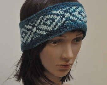 Hand knit wool earwarmer headband