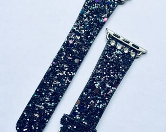 Glitter with Free Swarovski Crystals Apple Watch Band 38mm 42mm BLACK (Also available in Gold, Silver, Pink, Blue) Womens Bling iWatch 38 42