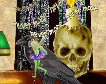 Raven art print, skull art print, fairy art print, 16x20 framed limited edition art print