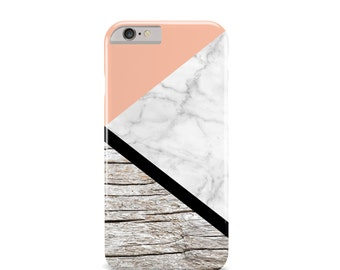 Marble and Wood iPhone 6 Case - iPhone 5 Case - White Marble iPhone Case - Geometric iPhone Case - Fall Fashion - The Mad Case