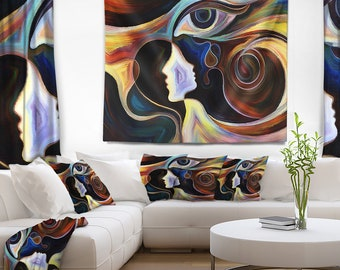 Designart Colorful Intuition Abstract Wall Tapestry, Wall Art Fit for Wall Hanging, Dorm, Home Decor