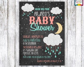 Night Sprinkle / Shower - Chalkboard Coral and Mint - Baby Girl Baby Shower Invitation Digital Printable 4x6 or 5x7 jpg or pdf