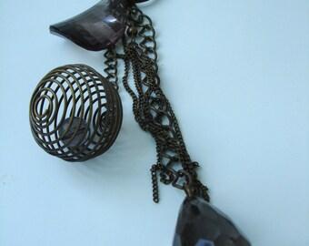 Anthracite teardrop  - steampunk keyring pendant