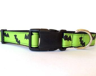 Halloween Dog Collar Black and Green Bats - Adjustable, Scary, Spooky