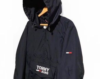 f4d34e1e Vintage tommy hilfiger windbreaker Tommy jeans 90s Jacket Half Zip Pullover  Packable Retro White Blue one