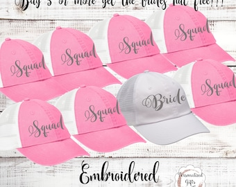Bridesmaid Hat Gift Bachelorette Party Bride Squad  Baseball Cap Dad Hat Bridesmaid Gift Personalized Baseball Hat Girls Night Out Gear