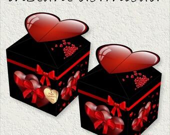 Valentines Day Box Instant Download DIY Printable Small Treat Box Candy Box Gift Box Paper Box Birthday Party Box Wedding Box Favor Box Love