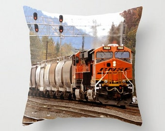 Train Throw Pillow Cover, Railway Decorative Pillow, Fine Art Photography, Train Yard Home Decor, Engine Photo, Gift for Him, Travel Pillow