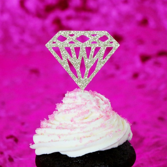 Diamond Cupcake Toppers - Glitter - Bachelorette Party. Engagement Party Decor. Baking Tools. Party Supplies. Party Decor. Paper.