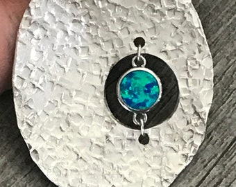 Vintage Spoon and Opal Pendant