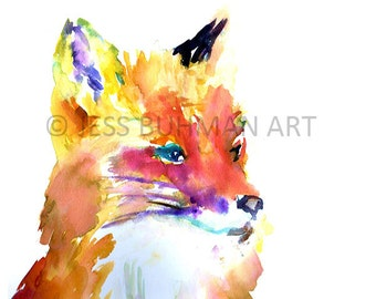 Fox Watercolor Print, Print of Fox Painting, Fox Illustration, Abstract Fox Art, Baby Fox Art, Nursery Watercolor, Baby Animal Art, Fox Art