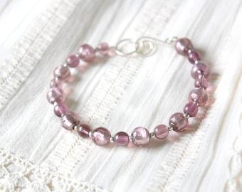 Purple Evening Bracelet - Light Purple Glass Beaded Sterling Silver Bracelet, Handmade Jewellery by Ikuri immortelle, FREE SHIPPING