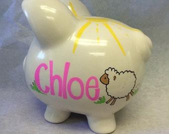 Personalized Piggy Bank bah bah Sheep