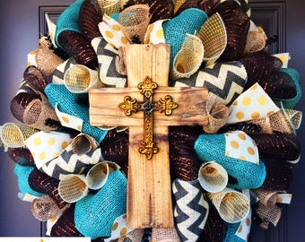 Rustic Cross Wreath, wreath, cross wreath, deco mesh wreath, front door wreaths, everyday wreath, summer wreath, spring wreath, funeral gift