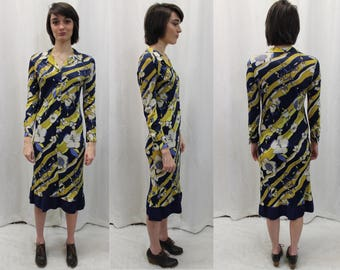 60s / 70s psychedelic pattern button up long sleeve dress modern size Medium