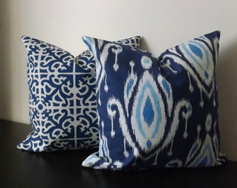 Decorative Throw Pillow Covers, Set of Two 16x16,18x18, Blue and White Ikat Parterre Print, Accent Pillow, Pillow Shams, Toss Pillows
