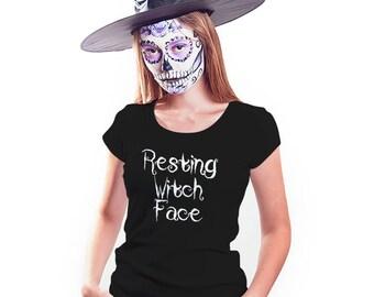 Resting Witch Face Halloween Shirt, Womens Tee Shirt