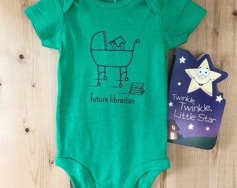 """Baby Infant short-sleeved onesie """"Future Librarian"""" design w/ board book"""