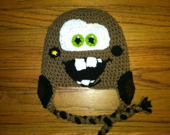 Tow Truck crochet hat with earflaps and tassels 0-5 yr