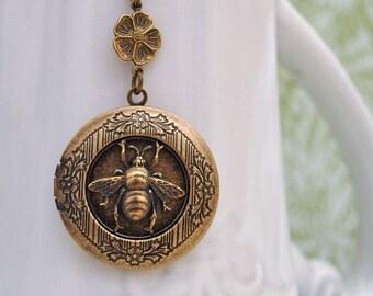 bee necklace, honey necklace, flower, brass honey bee locket necklace, HONEY, bumble bee necklace, antiqued brass locket, flower necklace,