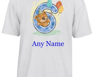 Personalised 6th Birthday T Shirt  *Choice of name colours*