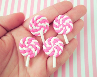 Polymer Clay Lollipop Candy Cabochons - Decoden Sweets, Hot Pink #04