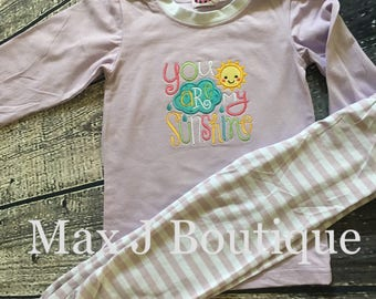 You are my Sunshine pajamas- Monogrammed Appliqué Lavendar Stripe Spring pjs