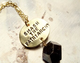 Resistance Jewelry - Smash the Patriarchy Necklace w/ Labradorite