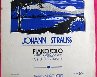 Vintage Music Sheet of The Blue Danube by Johann Strauss, circa 1950's, Gift for Musician, Piano  Music Score,